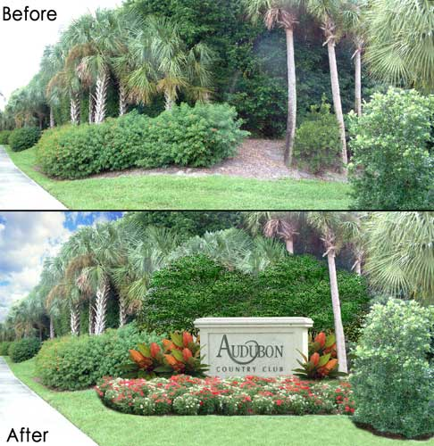 Photoshop Photo-Real concept rendering to show how adding a boundary marker to the Audubon Project would look before it was built