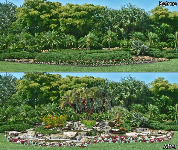 Photoshop Photo-Real concept rendering of adding a naturalistic water feature to an intersection at the ShadowWood community in Bonita Springs, Florida