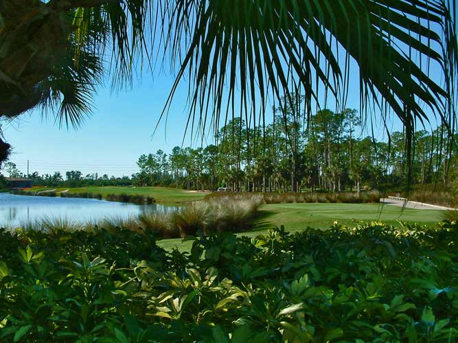 A look down the fairway at the Estuary golf course - Naples, Florida
