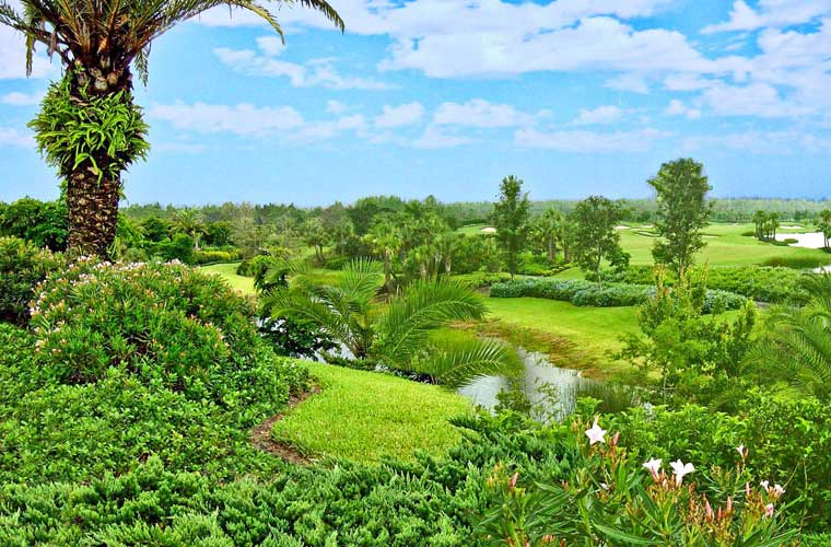 A view across multiple golf holes at Mediterra golf course - Naples, Florida
