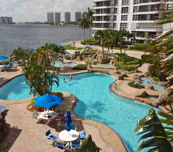 Mystic Pointe Condo Pool with naturalistic free flowing design - Aventura, Florida