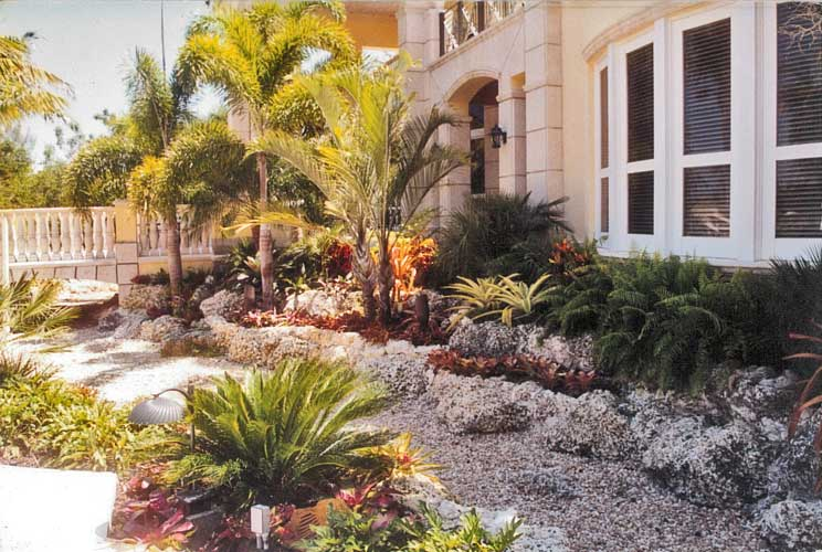 Ruso Residence Dry Stream Bed under bridge to pool deck - Coral Gables, Florida