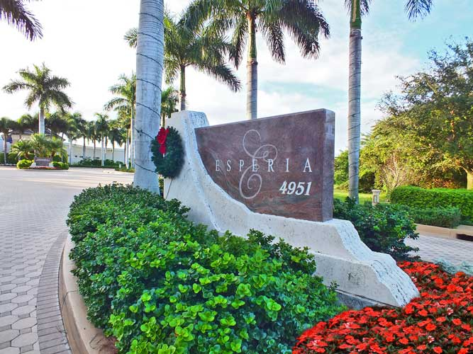 Main entry to the condo tower Esperia and its commons building with pool - Bonita Springs, Florida
