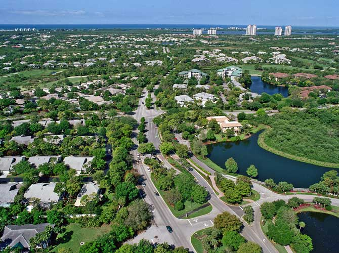 Helicopter View of the Main Boulvard in Bonita Bay - Bonita Springs, Florida