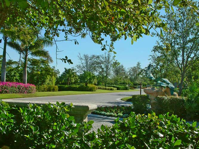 Street view from one of the parcel entry's in Estuary - Naples, Florida