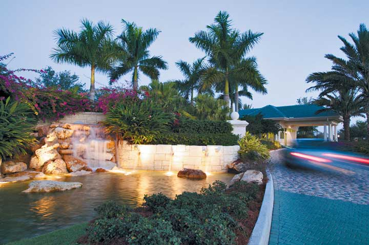 Waterfall to the left of the guardhouse at Estuary - Naples, Florida