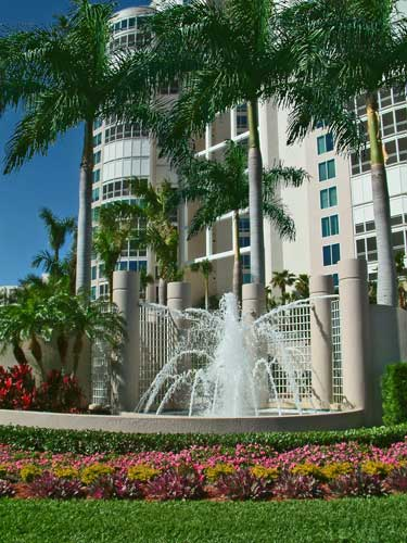 Water Feature at the main entry to Provance Condos - Naples, Florida