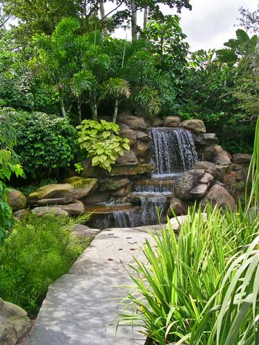 Natural looking water fall in the Zen Garden for the Bonaventure Resort and Red Door Spa - Weston, Florida