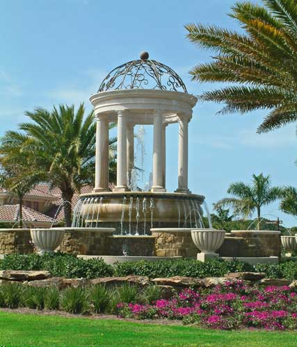 Round-about water feature along the main Boulavard of Treviso Bay - Naples, Florida